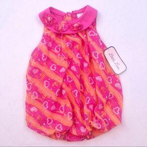 pink & orange heart sleeveless blouse top 24mo